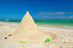 Sand construction on caribbean beach Stock Photo