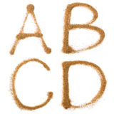Sand containing letters Royalty Free Stock Photography