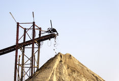 Sand conveyor  for constructions and industries Royalty Free Stock Photos