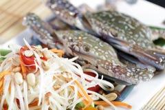Sand Crab with Papaya Salad Royalty Free Stock Photography