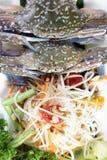 Sand Crab with Papaya Salad Royalty Free Stock Images