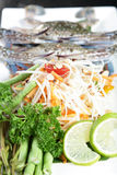 Sand Crab with Papaya Salad Royalty Free Stock Photos