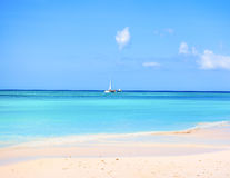 The sand and the crystal sea water of the Saona island, with som Stock Photo
