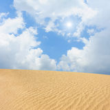 Sand desert. With sun and sky royalty free stock images