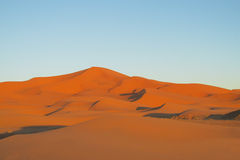 Sand desert dunes panorama at sunset stock photos