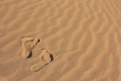 Sand in a desert and footprints royalty free stock photos