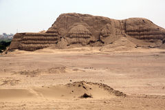 Sand desert and ruins Stock Photo