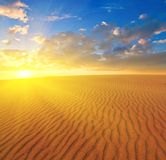 Sand desert sunset Royalty Free Stock Photography