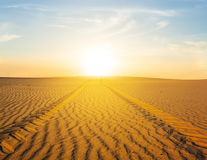 Sand desert at the sunset Royalty Free Stock Photography
