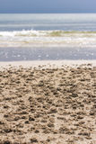 Sand design by small crab Royalty Free Stock Photos