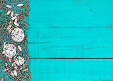 Sand dollars and shells in fish netting on teal blue wood beach sign Royalty Free Stock Images