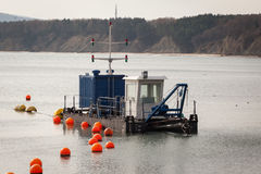 Sand dredger boat. N the sea Stock Photography