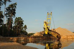Sand dredger at worksite Royalty Free Stock Images