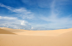 Sand dune. White dunes and blue sky in vietnam Royalty Free Stock Image