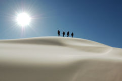 Sand dune. White sand dune with clear blue sky and the sun in the Gobi Desert of Mongolia Stock Photos