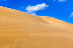 Sand dune. Desert against a blue sky with clouds Royalty Free Stock Image