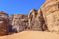 Sand Dune Barrah Siq Valley of Moon Wadi Rum Jordan. Sand Dune Barrah Siq Wadi Rum Valley of the Moon Jordan.  Inhabited by humans since prehistoric times, place Royalty Free Stock Image