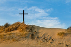 Sand Dune Black Cross Royalty Free Stock Images