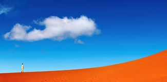 Sand dune climbing Royalty Free Stock Image