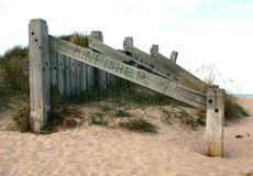 Sand dune conservation measures on a beach in Scotland. Sand dune conservation measures on a beach at Kinloss in the North East of Scotland. These large boards Stock Photo