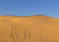 Sand dune in the desert with marks of cars Stock Photos