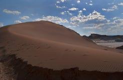 Sand dune in the desert sun. Beautiful sand line in the dunes of the atacama desert stock photos