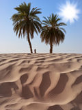 Sand dune and palm trees. Two palm trees in the sandy desert under a bright shining sun Stock Images