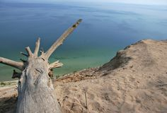 Sand Dune View over Lake Michigan. A picturesque view on top of a sand dune over looking Lake Michigan royalty free stock images