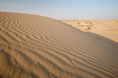 Sand Dune Waves Desert. Beautifully patterned waves of sand displaying repetition in the Thar desert in Khuri, Rajasthan, India Stock Photos