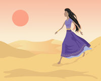 Sand dunes. An illustration of of an asian woman walking in sand dunes under an orange evening sun Royalty Free Stock Photo