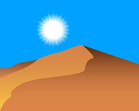 Sand dunes. And the sun in the sky Stock Image