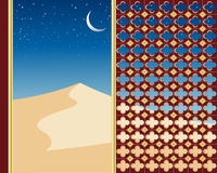 Sand dunes. An illustration of sand dunes under a starry night sky viewed through a decorative gilded window with a crescent moon Royalty Free Stock Photos