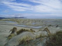 Sand Dunes. After rain at the Farewell Spit, south island New Zealand stock photos