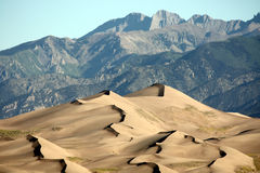 Sand Dunes. Golden sand dunes with sharp crests and ridges against blue and grey mountain range in background royalty free stock photo