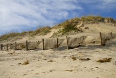 Sand Dunes. Partially washed out on the North Carolina coast stock photo
