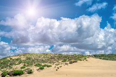 Sand dunes along the shore on the outer banks. Sintra , Portugal Royalty Free Stock Images