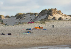 Sand dunes in Baleal Beach, Peniche, Portugal. View of sand dunes in Baleal Beach in Peniche, 100 km north from Lisbon, Portugal. Captation at sunset in a summer Royalty Free Stock Image
