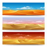 Sand dunes banners set. Sand dunes panorama landscape set. Desert banners freedom tranquility yellow nature vector illustration Royalty Free Stock Photo