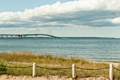 Sand Dunes Beach Grass Mackinac Bridge. View of the historic Mackinac Suspension Bridge of the Great Lakes linking the Lower and Upper Peninsulas of the state of Stock Image