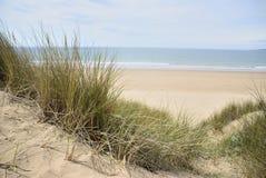 Sand dunes at beach stock photo