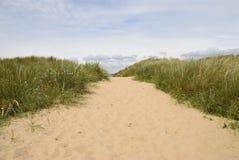 Sand dunes at beach stock photography