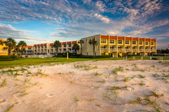 Sand dunes and beachfront hotel at St. Augustine Beach, Florida. Royalty Free Stock Photo