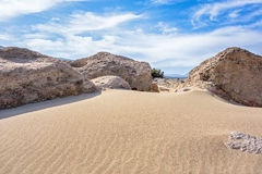 Sand dunes and blue sky Royalty Free Stock Photo