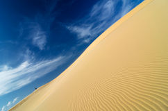 Sand dunes on blue sky at mui ne, vietnam Royalty Free Stock Image