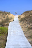 Sand dunes boardwalk traveler Stock Photos