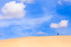 Sand dunes in Boavista desert with blue sky and clouds, Cape Ver Stock Images