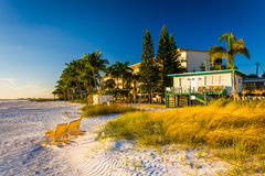 Sand dunes and buildings on the beach in Fort Myers Beach, Flori Stock Photos
