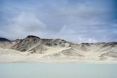 Sand Dunes And Bulungkol Lake. Sand dunes and the Bulungkol Lake on the Karakoram highway, xinjiang, China Royalty Free Stock Photography
