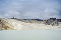 Sand Dunes And Bulungkol Lake. Sand dunes and the Bulungkol Lake on the Karakoram highway, xinjiang, China Stock Images