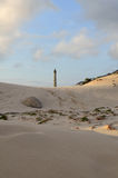 Sand Dunes and the California Lighthouse in Aruba Royalty Free Stock Images